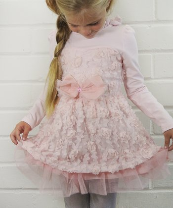 Pink Petals Long-Sleeve Dress - Girls