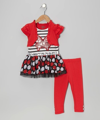 Red Butterfly Layered Tunic & Leggings - Infant