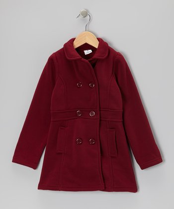 Maroon Double-Breasted Coat - Girls