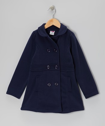 Navy Double-Breasted Coat - Toddler & Girls