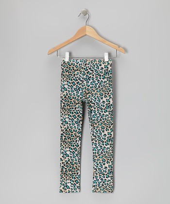Teal Leopard Leggings - Infant, Toddler & Girls