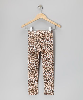 Tan Leopard Leggings - Toddler & Girls