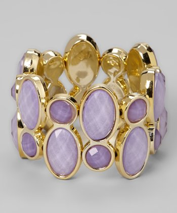 Lilac Faceted Gem Stretch Bracelet