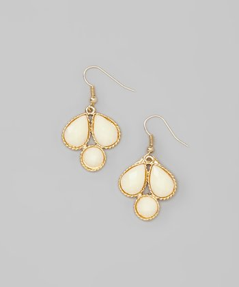 Cream & Gold Faceted Stone Drop Earrings
