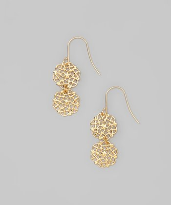 Gold Filigree Double Drop Earrings