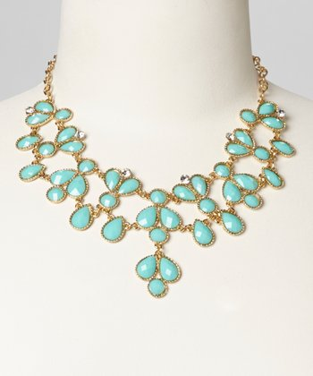 Turquoise Teardrop Bib Necklace