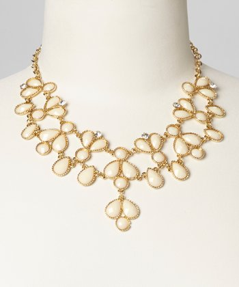 Cream Teardrop Bib Necklace