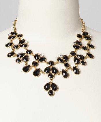 Black Teardrop Bib Necklace