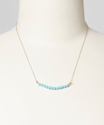 Gold & Teal Gemstone Necklace