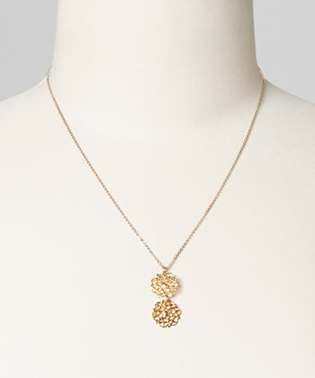 Gold Filgree Double Drop Necklace