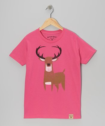 Fuchsia Wily Buck Tee - Girls