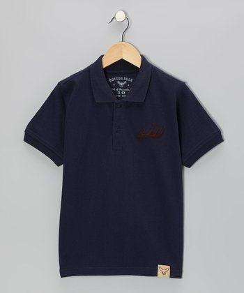 Navy Antler Appliqué Polo - Infant, Toddler & Boys