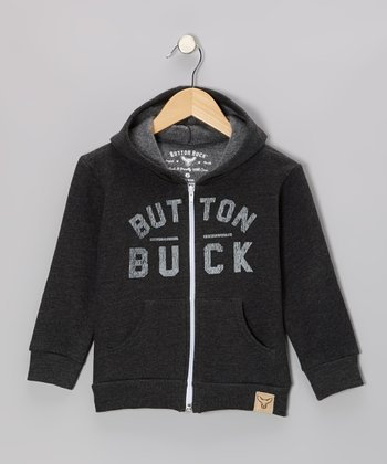 Gray 'Button' Classic Zip-Up Hoodie - Toddler & Kids