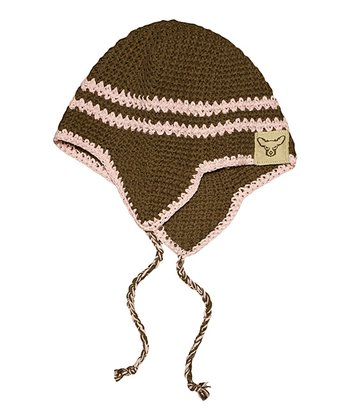 Brown & Pink Knit Earflap Beanie