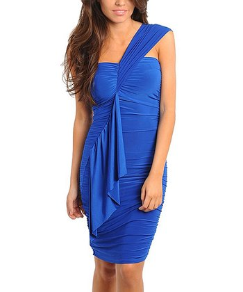 Royal Blue Ruffle Asymmetrical Dress