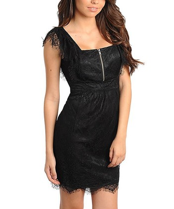 Black Lace Zipper Dress