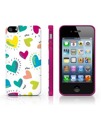 White & Aqua Hearts Case for iPhone 4/4S