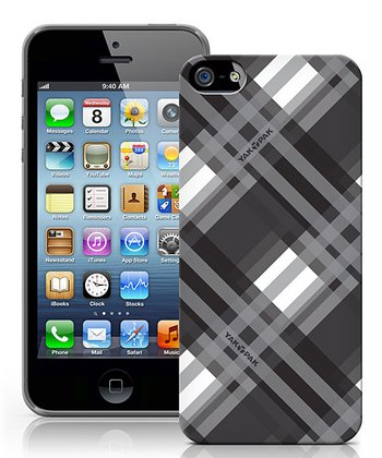 Black & Gray Plaid Case for iPhone 5