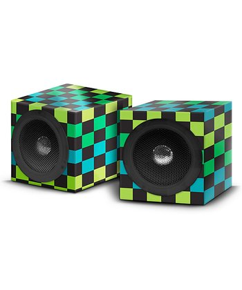 Green & Black Checkerboard Square Speaker - Set of Two