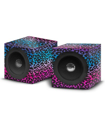 Pink & Blue Leopard Square Speaker - Set of Two