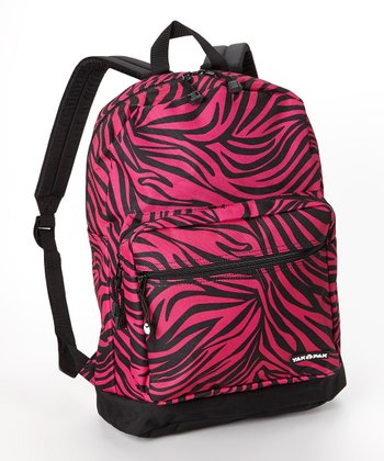 Fuchsia Zebra Student Backpack