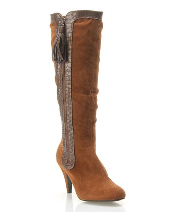 Brown Crocodile-Trim Ruched Boot