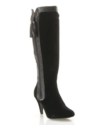 Black Crocodile-Trim Ruched Boot