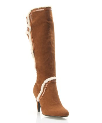 Brown Faux Fur-Trim Boot