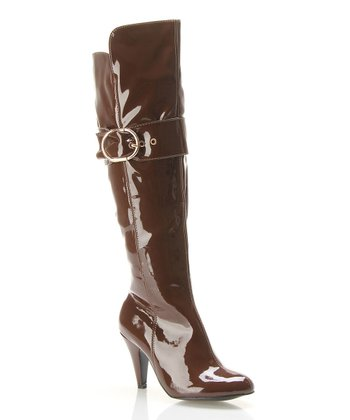 Brown Patent Buckle Boot