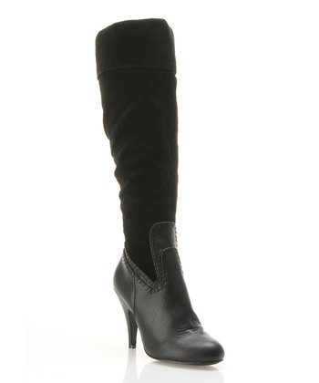 Black Faux Suede Fold-Over Boot