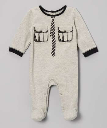 Heather Gray Necktie & Pockets Screen Footie - Infant
