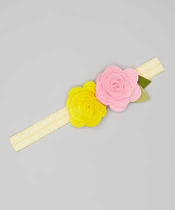Pink & Yellow Flower Headband