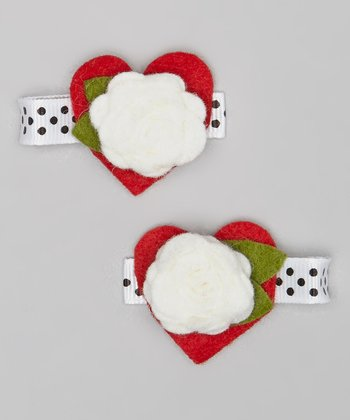 Red & White Heart Flower Clip Set