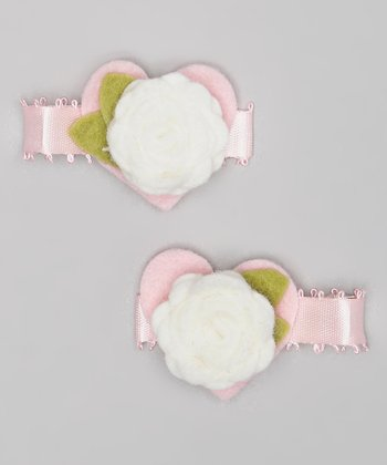Pink & White Heart Flower Clip Set