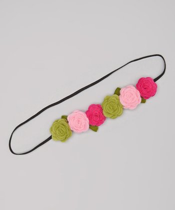 Pink & Green Rose Headband