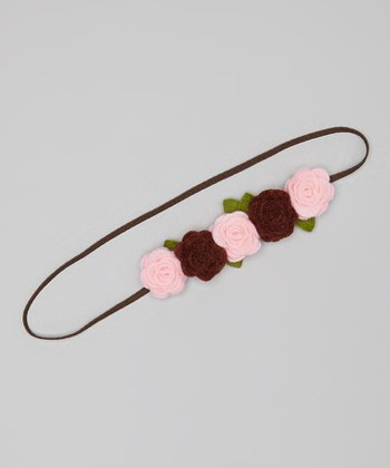Pink & Brown Rose Headband