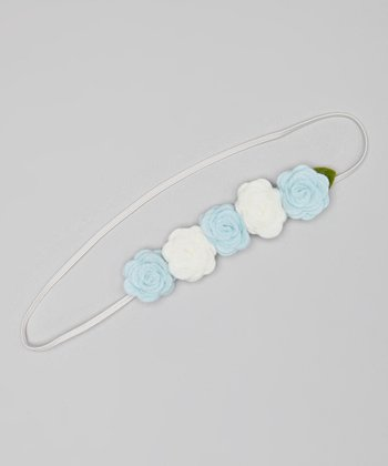Light Blue & White Rose Headband