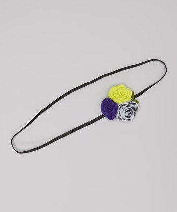 Lime & Purple Zebra Flower Headband