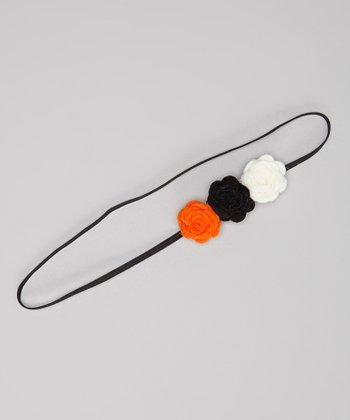 Orange & Black Rose Headband