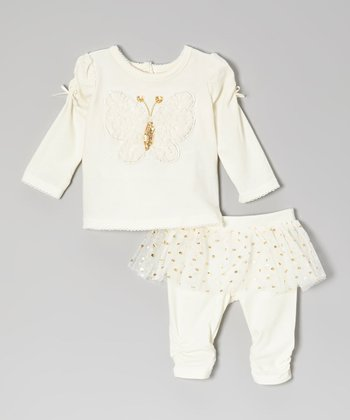 Light Beige Butterfly Top & Skirted Leggings - Infant