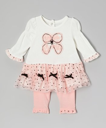 Pink Bow Skirted Tunic & Ruffle Leggings - Infant