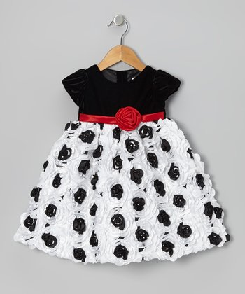 Black & White Petal Puff-Sleeve Dress - Infant & Toddler