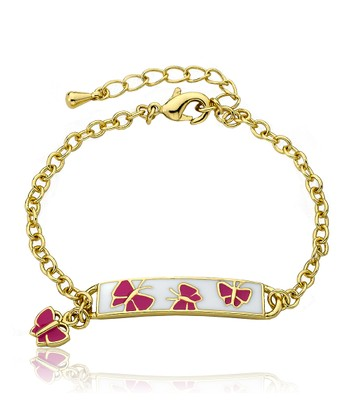 Gold & Hot Pink Butterfly Bracelet