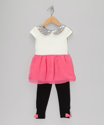 Pink Sequin-Collar Tunic & Leggings - Girls