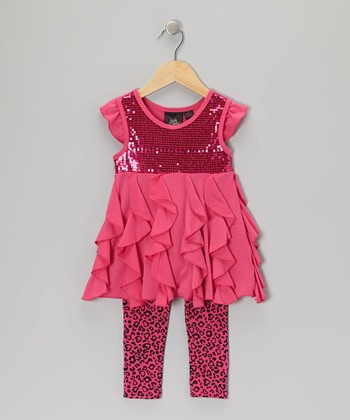 Pink Ruffle Heart Tunic & Leggings - Toddler