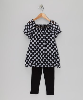 Black & White Polka Dot Tunic & Leggings - Girls