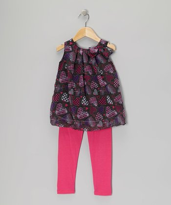 Charcoal Houndstooth Heart Tunic & Pink Leggings - Girls