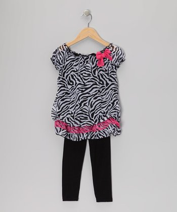Black & White Zebra Tunic & Leggings - Girls