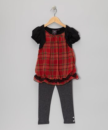 Red Plaid Layered Tunic & Leggings - Girls