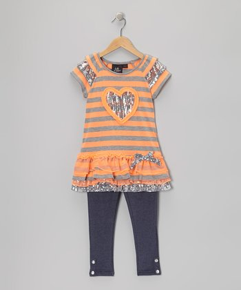 Orange Stripe Tunic & Black Leggings - Girls